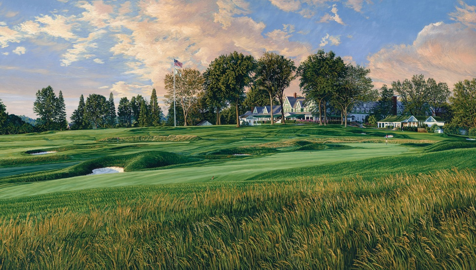 Oakmont 14th hole golf course painting for The oakmont